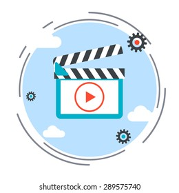 Video flat design style icon