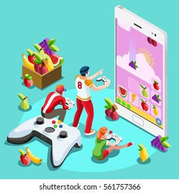 Video game arcade UX development. Web gamer person gaming online console controller android phone computer. 3D Isometric People game icon set. Creative design vector illustration wallpaper collection