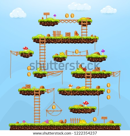 Video Game Background Arcade Game Template Stock Vector Royalty