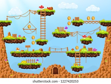 Video game. Cartoon elements and objects for computer game. Template for construction game level. Background for arcade game. Vector illustrator.