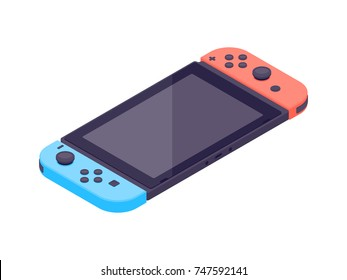 Video game console. Isometric gamepad vector illustration