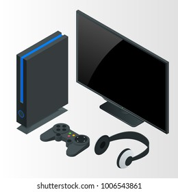 Video game console isometric vector illustration