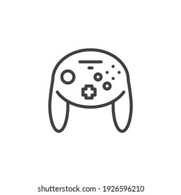 Video game control line icon. linear style sign for mobile concept and web design. Console game controller outline vector icon. Symbol, logo illustration. Vector graphics