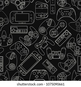Video game controller background Gadgets seamless pattern Black and White