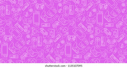 Video game controller background Gadgets and devices seamless pattern Eps10 vector