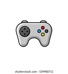 Video game controller. Colored flat line icon. In Grey.