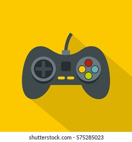 Video game controller icon. Flat illustration of video game controller vector icon for web   on yellow background