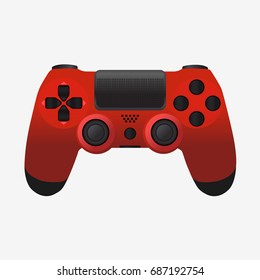 Video game controller icon. Red joystick isolated on white. Flat vector stock illustration.