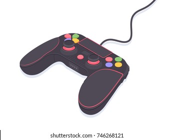 Video game controller. Isometric gamepad vector illustration