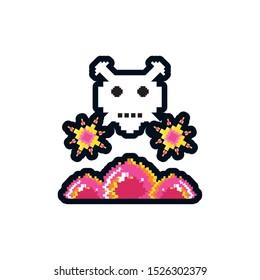 video game danger skull pixelated vector illustration design