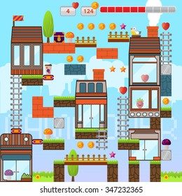 Video game interface design elements. Vector background and different blocks to construct your own game level. Vintage style game design. City level. Mobile game.