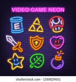 video game item neon icons, vector neon glow on dark background