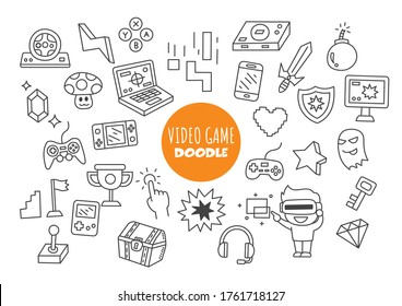 video game kawaii doodle vector hand drawing style