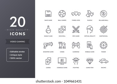 Video game line icons.  Gaming and computer games icon set with editable stroke