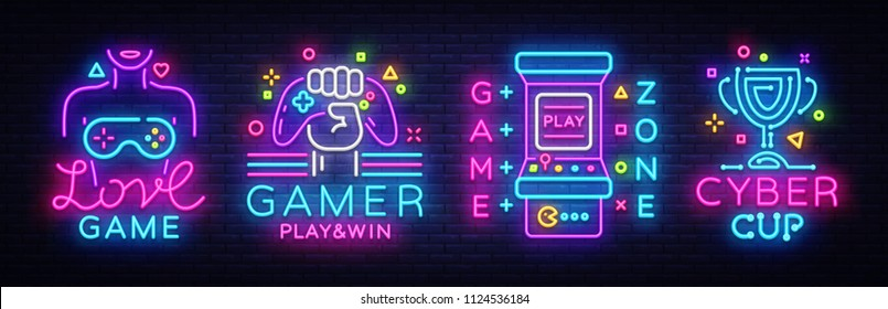 Video Game neon sign collection vector. Conceptual Logos, Love Game, Gamer logo, Game Zone, Cyber sport Emblem in Modern Trend Design, Vector Template, Light Banner, Design Element. Vector