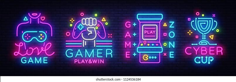 Video Game neon sign collection vector. Conceptual Logos, Love Game, Gamer logo, Game Zone, Cyber sport Emblem in Modern Trend Design, Vector Template, Light Banner, Design Element. Vector