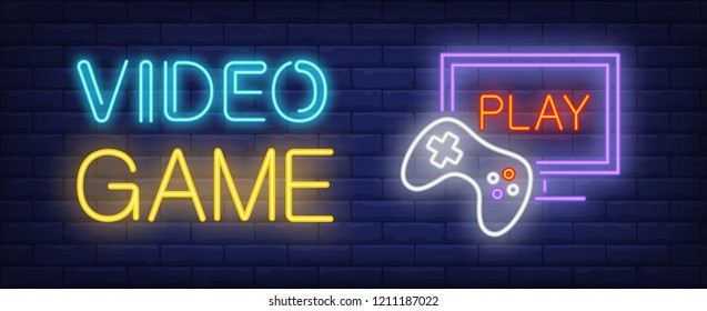 Video game neon text with game console and monitor. Computer games and entertainment advertisement design. Night bright neon sign, colorful billboard, light banner. Vector illustration in neon style.
