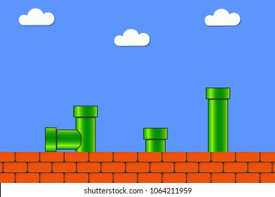 Video game in old style. Retro display background for game with bricks and pipe or tube. Vector illustration.