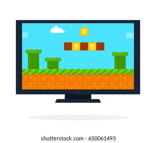 Video game on the LCD panel vector flat material design isolated on white