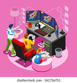 Video game pc screen nerd girl gamer person playing online console controller android phone or computer. 3D flat Isometric People pc icon set. Creative retro design vector illustration collection