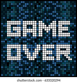 Video game pixel background texture in blue. Vector light bitmap pattern backdrop game over message.