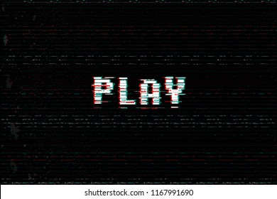 Video Game Play message, 3D glitch, vhs distort effect text, arcade begin vector illustration.