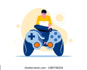 Video game, playing online. Large gamepad with sitting man using laptop. Flat concept vector illustration for web page, banner, presentation