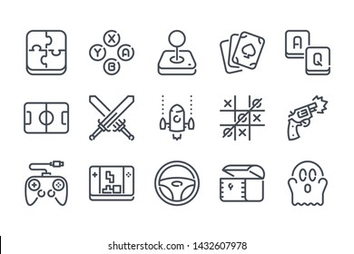 Video game related line icon set. Games category linear icons. Mobile game vector signs and symbols collection.