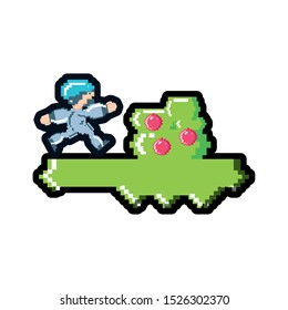 video game running in camp avatar pixelated vector illustration design
