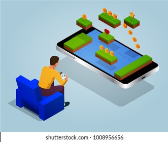 Video game screen and gamer person gaming online with console controller android phone or tablet. Vector isometric illustration.