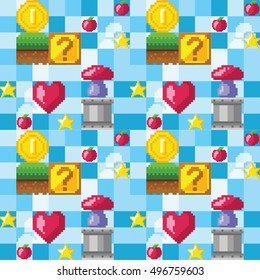 Video game seamless pattern. Elements of retro analog platform game. Pixel background. Vector illustration. Vintage style.