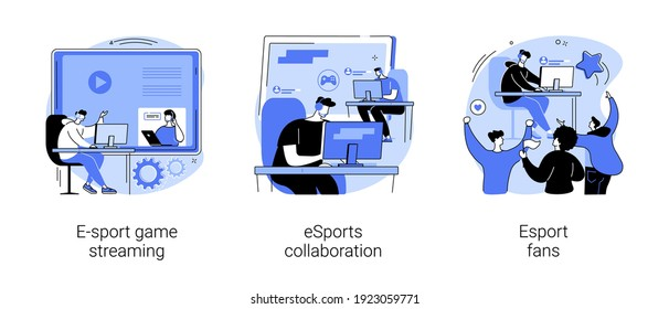 Video game show abstract concept vector illustration set. E-sport game streaming, eSports collaboration, fan club and community, computer game, champion league, global entertainment abstract metaphor.