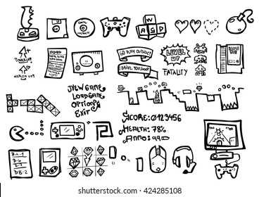 Video game themed doodle sheet with black outlines and no background