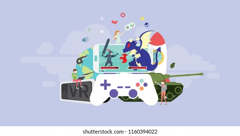 Video Game Tiny People Character Concept Vector Illustration, Suitable For Wallpaper, Banner, Background, Card, Book Illustration, And Web Landing Page