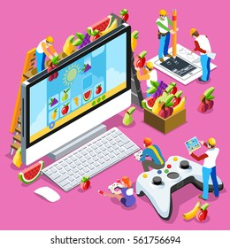 Video game UX development. Web gamer person gaming online with console data controller android phone or computer. 3D Isometric Geek People icon set. Creative design vector illustration data collection