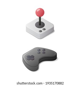 Video games concept. Gamepad and joystick controller. Isometric vector illustration. Isolated on white background.