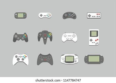 Video games joystick icons set. flat style. isolated on white background