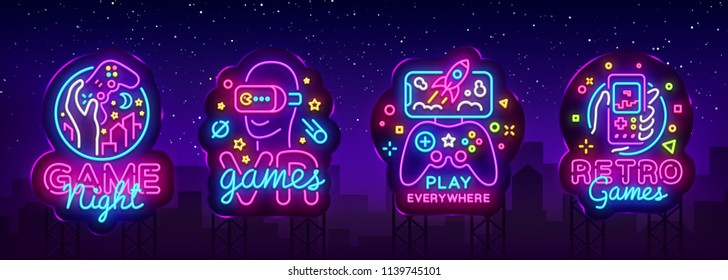 Video Games logos collection neon sign Vector design template. Conceptual Vr games, Retro Game night logo in neon style, gamepad in hand, modern trend design, light banner. Vector Billboard