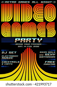 Video Games party - poster event template, eighties games style