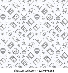 Video Games Seamless Pattern. Vector Texture for Web. Background Design Template.