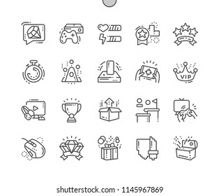 Video Games Well-crafted Pixel Perfect Vector Thin Line Icons 30 2x Grid for Web Graphics and Apps. Simple Minimal Pictogram