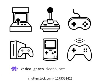 Video gaming and game consoles icons