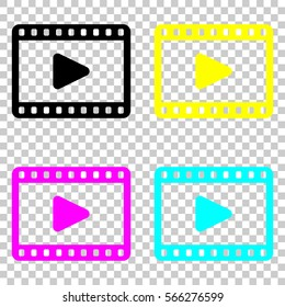 video icon. Colored set of cmyk icons on transparent background.
