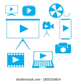 video icon is a combination of vector icons for applications or web videos. Easily editable icons and very elegant shapes. so that it makes the application or website look good and professional