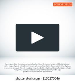 video icon, stock vector illustration flat design style
