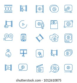 Video icon thin line set isolated on white background. Trendy video icon in flat style
