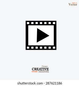 video icon.movies icon. film with play sign.vector illustration.