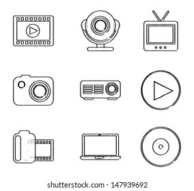 video icons over white background vector illustration