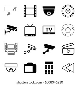 Video icons. set of 16 editable filled and outline video icons such as tv, movie tape, camera display, intercom, security camera, security camera, cd, play back, play