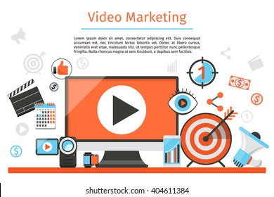 Video and internet marketing. Abstract concept background. Goal and target, aim and camera, optimization. Vector illustration
